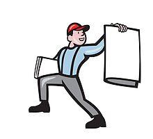 Newsboy Selling Newspaper Isolated Full Cartoon by patrimonio