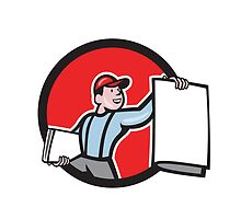 Newsboy Selling Newspaper Circle Cartoon by patrimonio