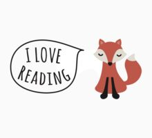 I love reading sticker with cute cartoon fox by MheaDesign