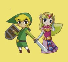 Toon Zelda and Link by littlegreenhat