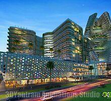 Shopping Mall Exterior Design UK by 3dwalkthrough