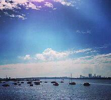 Perth - Swan River, Yachts by Canning Bridge  by Ryan Northover