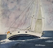 Sailboat, blue by Eva  Ason