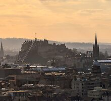 Edinburgh Castle Sunset from Salisbury Crags by Miles Gray