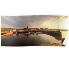 Sun begins to set over Newhaven Harbour, Edinburgh Poster