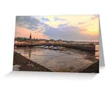 The sun begins to set over Newhaven Harbour, Edinburgh Greeting Card