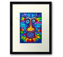 Rainbow Hand Drawing Face Framed Print