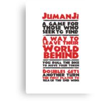 Jumanji's Rules Canvas Print