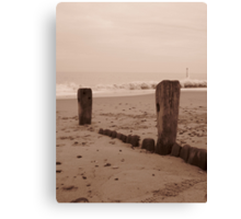 Hornsea with waves crashing Canvas Print