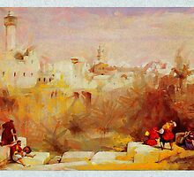 a digital painting of The Pool of Bethesda Jerusalem by David Roberts 1839 by Dennis Melling