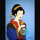 Geisha with Fish Pillow and Tote Bag by Shulie1