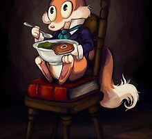 Fox Eating a Bowl of Steak by crimsonRoyale