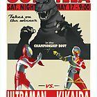 Godzilla/Ultraman/Kikaida - fight poster by artbyabc