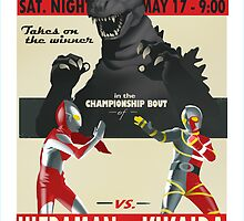 Godzilla/Ultraman/Kikaida - fight poster by artbyabc