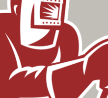 Welder Worker Holding Welding Torch Shield Retro  Sticker