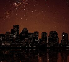 Miniature Replica of the Boston Skyline at Night by Katie Batchelor