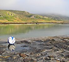 soccer ball at the sea by Lee Jones