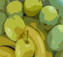 Apples & Bananas throw pillow by sarnia2