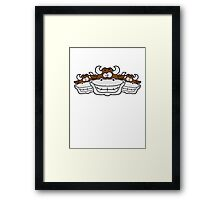 3 grinning cows friends team Framed Print