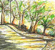 Sun glowing through Trees by Teresa White