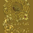 """""""Robin Wreath"""" Gold Holly & Ivy Celtic Seasonal Greetings Card by Catie Atkinson"""