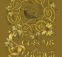 """Robin Wreath"" Gold Holly & Ivy Celtic Seasonal Greetings Card by Catie Atkinson"