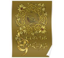"""Robin Wreath"" Gold Holly & Ivy Celtic Seasonal Greetings Card Poster"