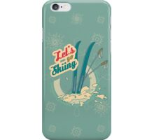 Let's go Skiing retro poster iPhone Case/Skin