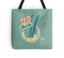 Let's go Skiing retro poster Tote Bag