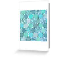 Frozen Mint Honeycomb - Doodle Hexagon Pattern Greeting Card