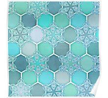 Frozen Mint Honeycomb - Doodle Hexagon Pattern Poster