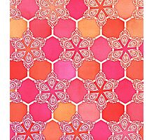 Pink Spice Honeycomb - Doodle Hexagon Pattern  Photographic Print