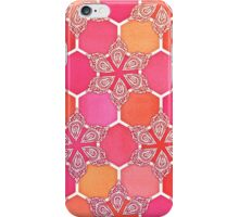 Pink Spice Honeycomb - Doodle Hexagon Pattern  iPhone Case/Skin