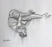 Tom Daley - charcoal drawing by Paulette Farrell