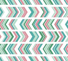 Peony and Seafoam Chevron by irinatsy