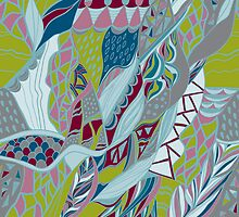 Hand drawn artwork with lines. Bright colors  by Kollibri