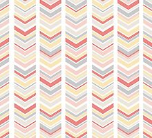 Pink, Buttercup and Gray Chevron by irinatsy