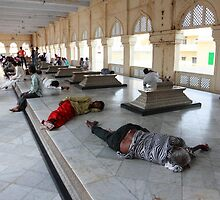 Rest Area Mecca Masjid Mosque  by Andrew  Makowiecki