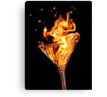 Flaming Martini Canvas Print