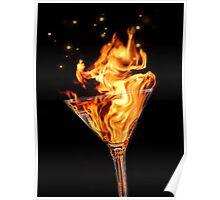 Flaming Martini Poster