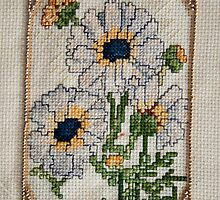 Cross Stich Embrodery of Daises  by Kim-maree Clark