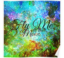 FLY ME TO THE MOON, REVISITED Abstract Acrylic Galaxy Space Cosmic Hipster Typography Painting Poster
