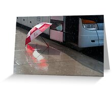 Umbrella At The Bus In Front Of The Art Gallery Greeting Card