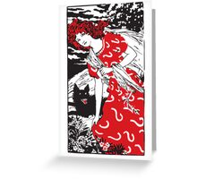 girl in red dress on the run Greeting Card