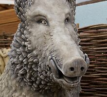 Wild boar statue at the RHS Chelsea Flower Show by Keith Larby