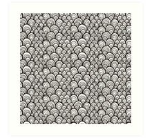Black and white scale ornamental pattern Art Print