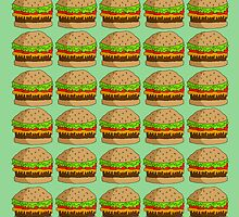 Burger Repeat Pattern ~yummers~ by Stacey Muir