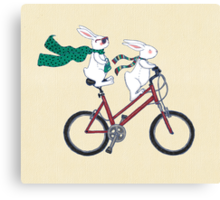 biking bunnies  Canvas Print
