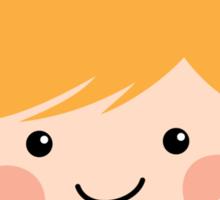 Cute cartoon girl with blond hair in pigtails sticker Sticker