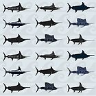 Marlin Billfish Print Throw Pillow - Blue by blackmarlinblog